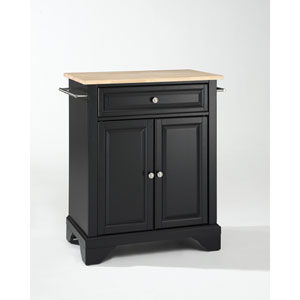 LaFayette Natural Wood Top Portable Kitchen Island in Black Finish