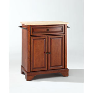 LaFayette Natural Wood Top Portable Kitchen Island in Classic Cherry Finish