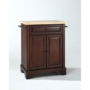 LaFayette Natural Wood Top Portable Kitchen Island in Vintage Mahogany Finish