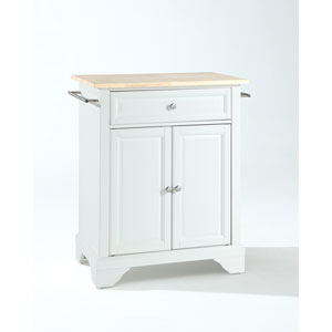 LaFayette Natural Wood Top Portable Kitchen Island in White Finish