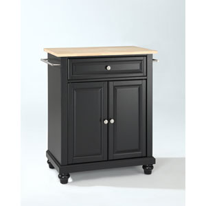 Cambridge Natural Wood Top Portable Kitchen Island in Black Finish