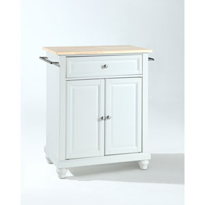 Cambridge Natural Wood Top Portable Kitchen Island in White Finish