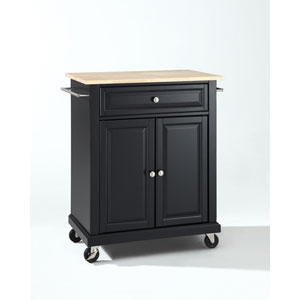 Natural Wood Top Portable Kitchen Cart/Island in Black Finish
