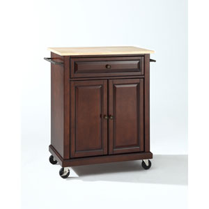 Natural Wood Top Portable Kitchen Cart/Island in Vintage Mahogany Finish