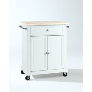 Natural Wood Top Portable Kitchen Cart/Island in White Finish