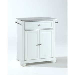 Alexandria Stainless Steel Top Portable Kitchen Island in White Finish