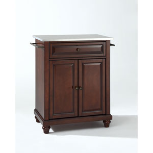 Cambridge Stainless Steel Top Portable Kitchen Island in Vintage Mahogany Finish