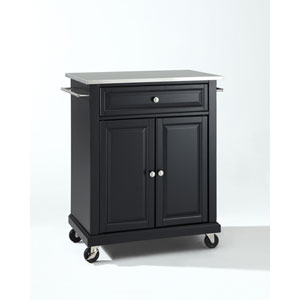 Stainless Steel Top Portable Kitchen Cart/Island in Black Finish