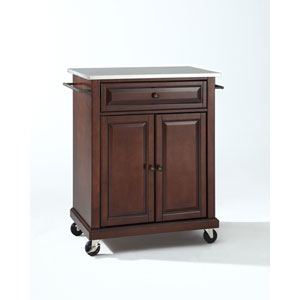 Stainless Steel Top Portable Kitchen Cart/Island in Vintage Mahogany Finish