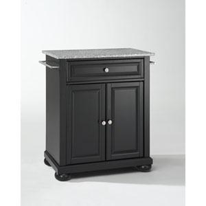 Alexandria Solid Granite Top Portable Kitchen Island in Black Finish
