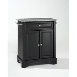 LaFayette Solid Granite Top Portable Kitchen Island in Black Finish