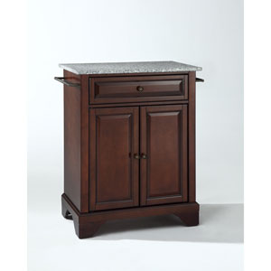 LaFayette Solid Granite Top Portable Kitchen Island in Vintage Mahogany Finish