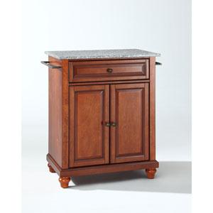 Cambridge Solid Granite Top Portable Kitchen Island in Classic Cherry Finish