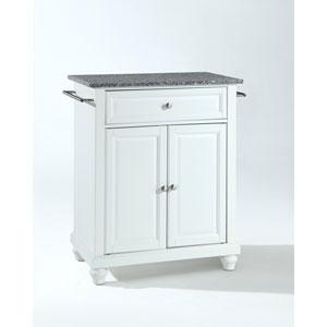 Cambridge Solid Granite Top Portable Kitchen Island in White Finish