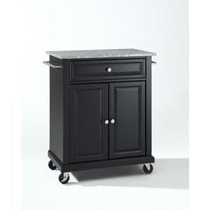 Solid Granite Top Portable Kitchen Cart/Island in Black Finish
