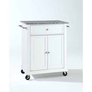 Solid Granite Top Portable Kitchen Cart/Island in White Finish
