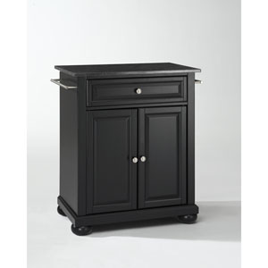 Alexandria Solid Black Granite Top Portable Kitchen Island in Black Finish