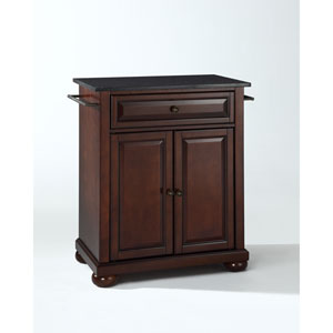Alexandria Solid Black Granite Top Portable Kitchen Island in Vintage Mahogany Finish