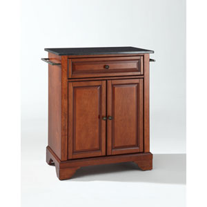 LaFayette Solid Black Granite Top Portable Kitchen Island in Classic Cherry Finish
