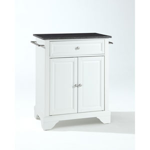 LaFayette Solid Black Granite Top Portable Kitchen Island in White Finish