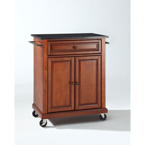 Solid Black Granite Top Portable Kitchen Cart/Island in Classic Cherry Finish