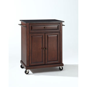 Solid Black Granite Top Portable Kitchen Cart/Island in Vintage Mahogany Finish