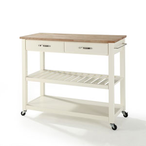 Natural Wood Top Kitchen Cart/Island With Optional Stool Storage in White Finish