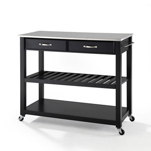 Stainless Steel Top Kitchen Cart/Island With Optional Stool Storage in Black Finish