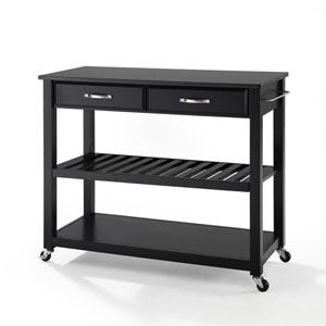 Solid Black Granite Top Kitchen Cart/Island With Optional Stool Storage in Black Finish