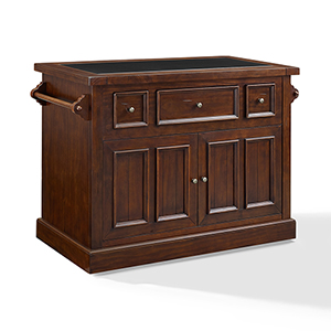 Sienna Large Kitchen Island in Rustic Mahogany