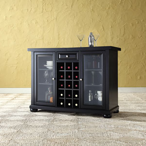 Alexandria Sliding Top Bar Cabinet in Black Finish