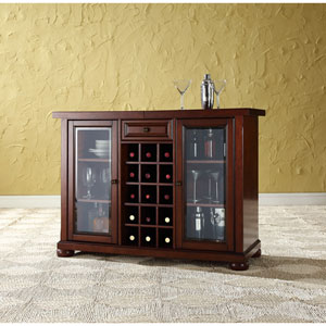 Alexandria Sliding Top Bar Cabinet in Vintage Mahogany Finish