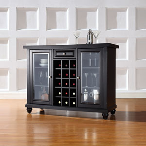 Cambridge Sliding Top Bar Cabinet in Black Finish