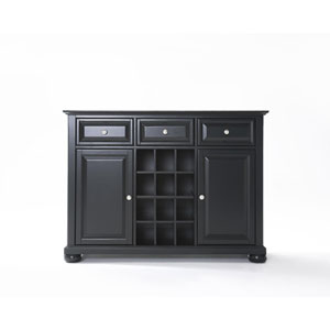 Alexandria Buffet Server / Sideboard Cabinet with Wine Storage in Black Finish