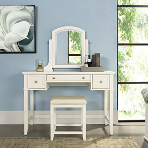 Vista Vanity Set in White Finish