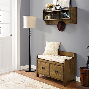 Fremont 2 Piece Entryway Kit - Bench, Shelf in Coffee