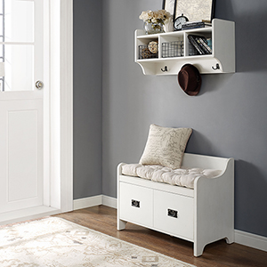 Fremont 2 Piece Entryway Kit - Bench, Shelf in Distressed White