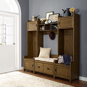 Fremont 4 Piece Entryway Kit - Two Towers, Bench, Shelf in Coffee