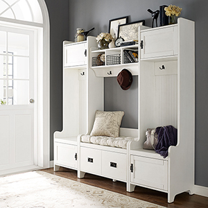 Fremont 4 Piece Entryway Kit - Two Towers, Bench, Shelf in Distressed White