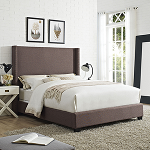 Casey Wingback Upholstered Queen Bedset in Bourbon Linen