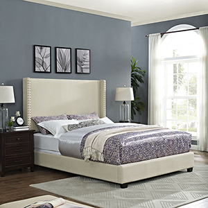 Casey Wingback Upholstered Queen Bedset in Creme Linen