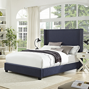 Casey Wingback Upholstered Queen Bedset in Navy Linen