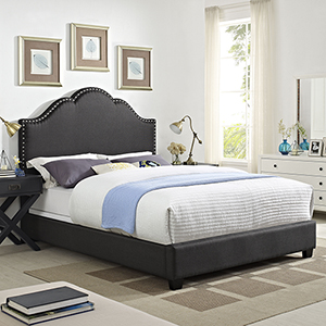 Preston Camelback Upholstered Queen Bedset in Charcoal Linen