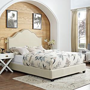 Preston Camelback Upholstered Queen Bedset in Creme Linen