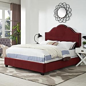 Preston Camelback Upholstered Queen Bedset in Merlot Microfiber