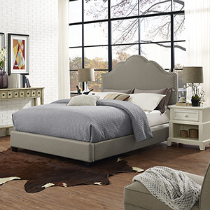 Preston Camelback Upholstered Queen Bedset in Shadow Gray Linen