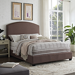 Cassie Curved Upholstered Queen Bedset in Bourbon Linen