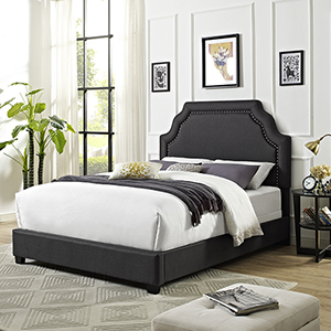 Loren Keystone Upholstered Queen Bedset in Charcoal Linen