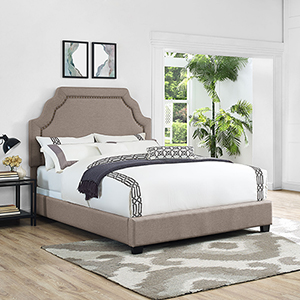 Loren Keystone Upholstered Queen Bedset in Oatmeal Linen