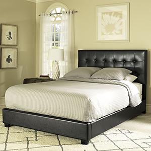 Andover King Bedset in Black Leatherette